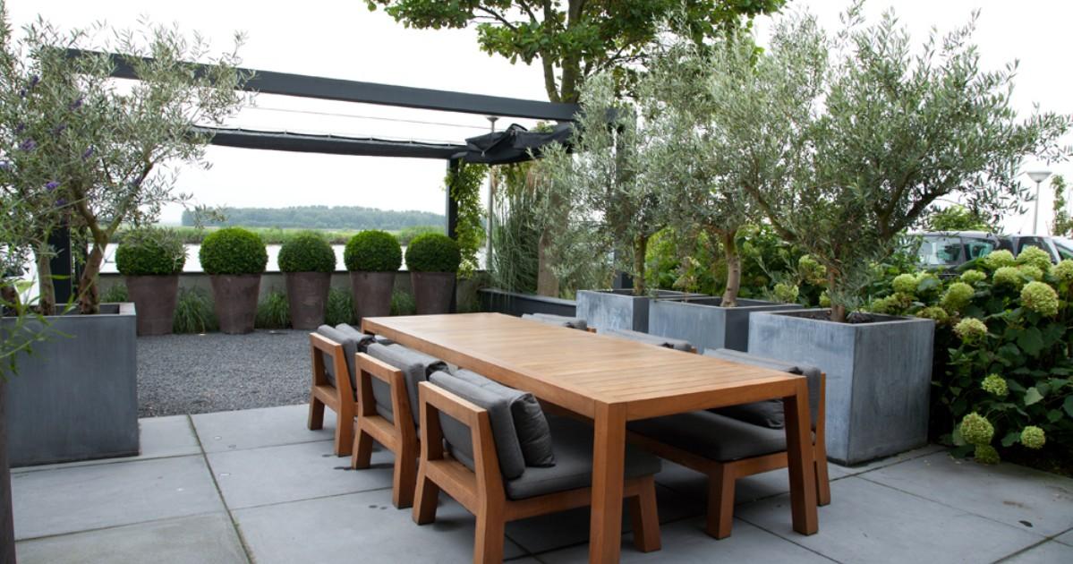 Luxe voortuin in alphen aan de rijn i martin veltkamp tuinen for Voortuin modern